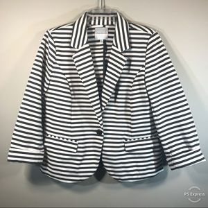 Catherine Malandrino | Striped 3/4 Sleeve Blazer